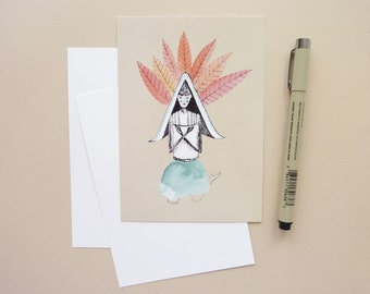Peaceful - postcard - illustration youth - correspondence A6 card