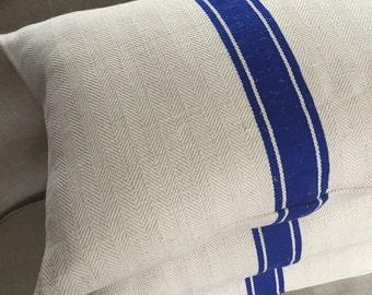Vintage Grain Sack Feather Pillows