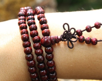 Red Sandalwood 108 Mala Beads on Elastic