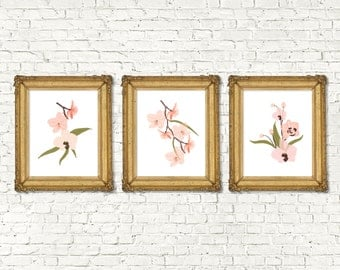 Instant Download Printable Floral Home Decor Print Set of 3 | Boho Garden Watercolor Home Decor Nursery | Rustic Floral Nursery Printable