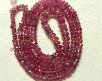 "Natural Rubellite Pink Tourmaline Rondelle, Tourmaline Faceted Rondelle Beads, 2.5-4.5 MM Size, 15"" Strand, Loose Gemstone Roundel Beads 408"