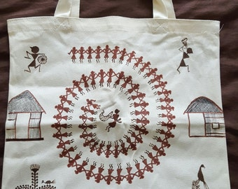 Warli painting on tote bag (Indian tribal art)