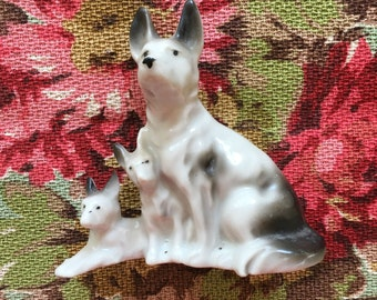 Ceramic Dog Figurine (Shephard, Shepherd) Mother and Puppies