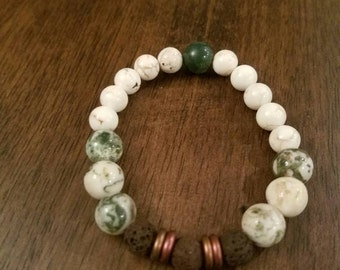 Essential oil, aromatherapy, diffuser, green bracelet