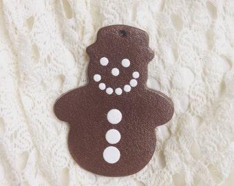 Christmas Snowman Gingerbread Man Clay Ornament Handmade Holiday Decoration Gift