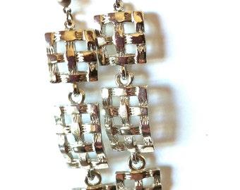 Silver Square Basket Weave Dangle Earrings/Silver Square Earrings/Vintage Drop Earrings/Retro Silver Dangle Earrings/Long Silver Earrings