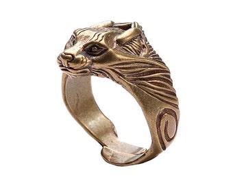 Bronze Lynx ring. Viking bronze jewerly. Bobcat ring. Totem ring