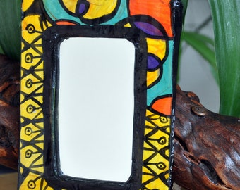 Mirror, Drawn and Handpainted, Recycled cardboard, Hippie art, Home decor