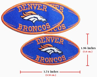 3 pcs. Denver BRONCOS Logo Embroidered Iron On Patches.