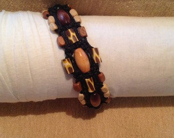 Black Square Knot Macrame Bracelet with Wooden & Clay Beads