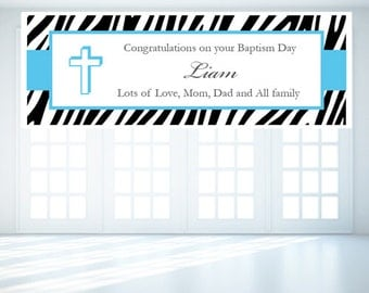 Personalized Zebra Baptism Banner (FJM628494-Z)