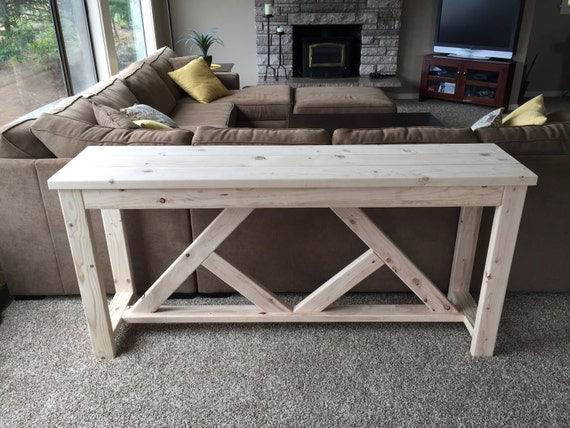 Rustic buffet table with diamond support Rustic console