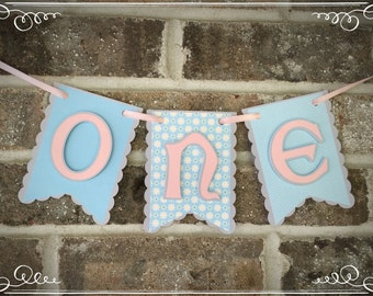 Pink and Blue ONE Highchair Banner, Birthday Banner