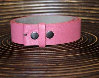 Pink Leather Belt - Strap Snap Belt - Interchangeable Belt - Soft