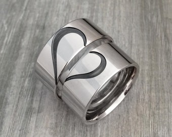Heart band ring, Sterling silver band ring, heart wedding ring, heart jewelry, heart on wedding band, matching heart rings, BFF Rings