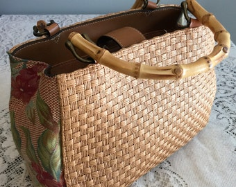 Vintage Fossil Woven Straw Purse Handbag with Bamboo Handles