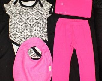MONOGRAMMED Baby Girl Gift Set, Onesies, Travel Whip Holder, Pants, and Bib