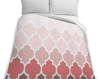 White to Pink Ombre King Size Duvet Cover