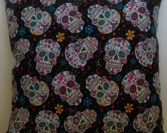 Sugar Skull Throw Pillow with White Back