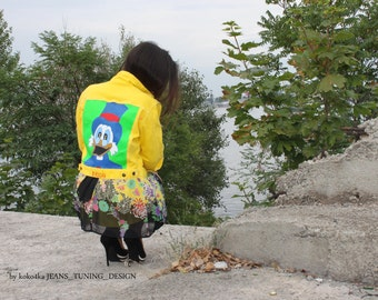 hand-painted clothing denim jacket with painting jacket with art work on it  art on denim jean jacket with art fashion wearable art disney