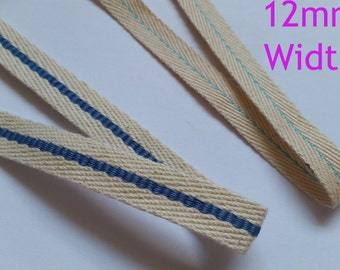 12mm Cotton webbing Tape Soft Fabric Strap Sewing dress craft T-Shirt