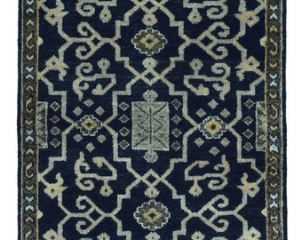 Black and Beige Small Oushak Oriental Rug 2X4'9