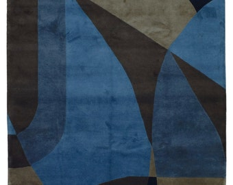 Blue, Brown and Black Fine Nepali Modern Oriental Rug 8'X11'10