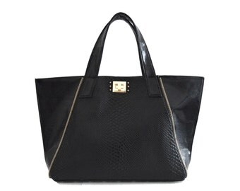 faux leather bond zipper tote handbag