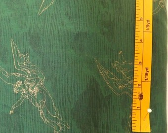 P&B Textiles, Angel, DK Dark green quilting fabric with Gold angels