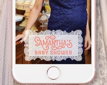 Custom Snapchat Geofilter | Personalized Lace Geofilter for Baby Shower | Tea Party Decorations | Bridal Shower, Birthday Party | Doily