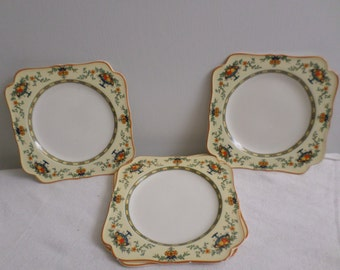 1920's CROWN DUCAL England Fruit Bowl Square Dishes / Set Of 5