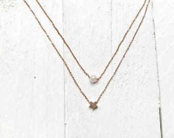 Layered Necklace Double Tiered Chain 2 Pendants Pearl Star Titanium with Rose Gold Plated