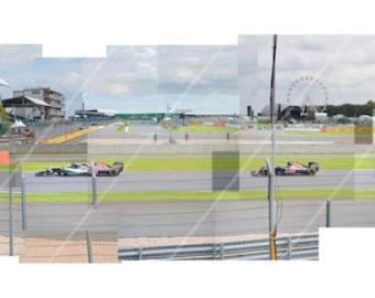 Silverstone British Grand Prix 2016, Wellington to National Pit Straight Hockney Inspired Formula 1 Panoramic