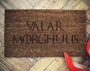 """Game of Thrones doormat coconut """" Valar MORGHULIS """" door mat"""