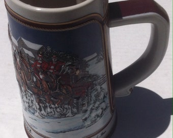 Vintage 1989 Budweiser Beer Stein, Mug, Cup, Clydesdale's Horses, Anheuser Busch, Made in Brazil, Handcrafted, Made for Budweiser, Beer King