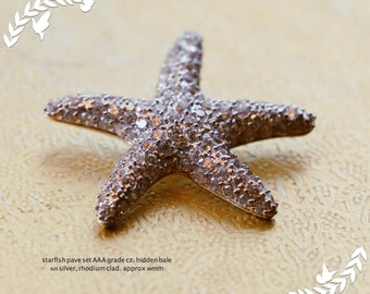 Starfish pendant, AAA grade cz pave set