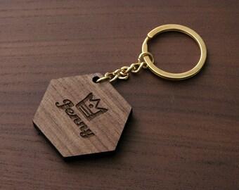 Gold Keychain, Cute Keychain, Name Keychain, Personalized Name Keychain, Hexagon Keychain, Golden Keychain, Metal Keychain LWKC02