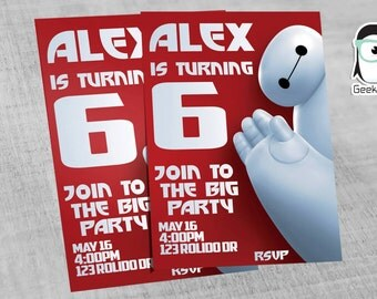 Big Hero 6 Invitation, Baymax Invitation, Big Hero Six Birthday Invitation, Big Hero 6 Invite