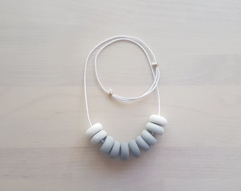 Ombre Polymer Clay Necklace Grey Waxed Cotton Cord