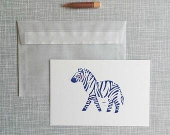 Greeting card A6 handprinted linocut 'Zebra'