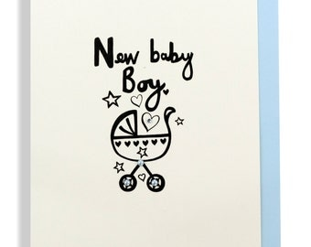 New baby boy pram and hearts hand finished greetings card