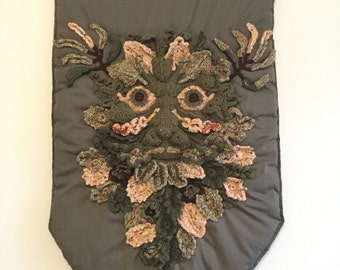 The Green Man Quilted/Crochet Wall Hanging