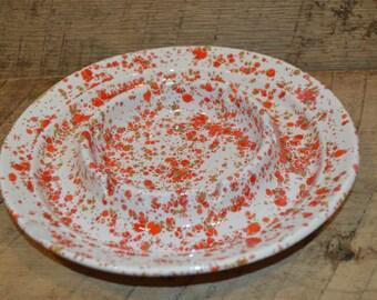 Vintage Ashtray, Paint Splatter Ashtray, Retro Ashtray, Vintage Ceramic Ashtray, Speckle Ashtray, Orange, Red, Tan