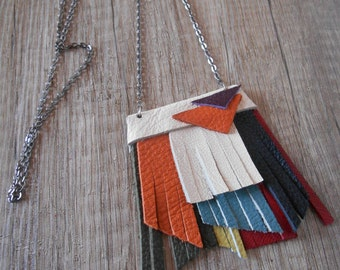 Boho necklace, statement necklace, fringe necklace, leather necklace