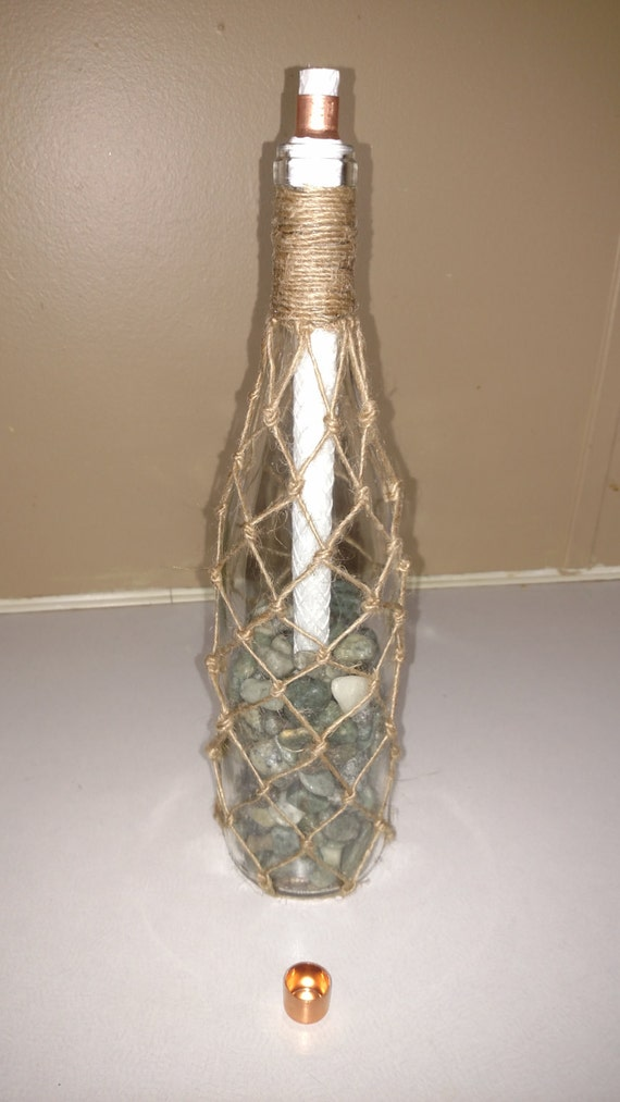 Tiki Torch bottle with Hand Knotted Jute Net