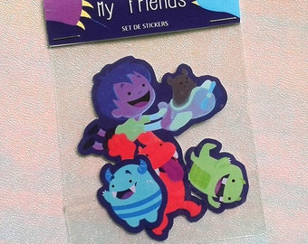 Set of 3 self-adhesive friends monsters