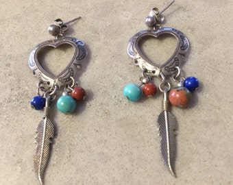 Sterling Silver Open Heart and Eagle Feather Post Pierced Earrings Vintage