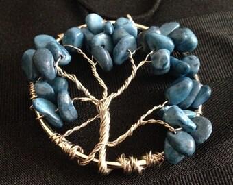 Tree of Life Pendants - Blue/Silver