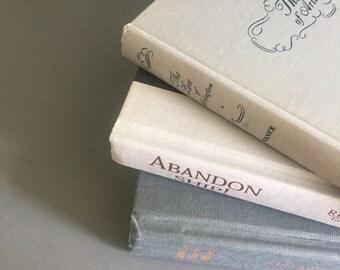 Vintage neutral hardbacked books, vintage library decor, 3 vintage books,  hardbacked books, shabby chic decor