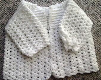 Hand Crocheted Baby Sweater White
